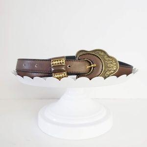 Vintage Brown Gold Leather Belt M/L